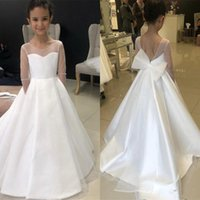 Wholesale simple purple flower girl dresses resale online - Simple Satin A Line Flower Girls Dresses Jewel Illusion Long Sleeves First Holy Communion Dresses With Bow Girls Birthday Party Gowns
