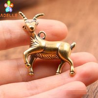 Wholesale vintage car gifts for sale - Group buy 2x Solid Brass sheep Vintage Carving Handmade Keyring Car Accessory DIY Jelwery Pendant Gift Finding