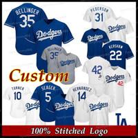 jersey negro rayas amarillas al por mayor-Dodgers Jersey Los Angeles Walker Buehler Clayton Kershaw Cody Bellinger Justin Turner Chase Utley Hombres Mujeres Juventud Camisetas de béisbol personalizadas