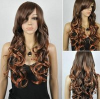 camadas de cabelo castanho venda por atacado-FREE SHIPPIN + + New Fabulous Long Layers encaracolado Peruca castanho escuro peruca de cabelo das senhoras