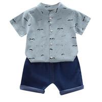 Wholesale boys jeans outfit resale online - LONSANT Kids Outfits Clothes Short Sleeve Print T shirt Tops Jeans Shorts Gentlement Set Newborn Infant Baby Boys kids clothing