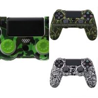 защитные кожухи оптовых-yJTeH Guards Soft sleeve PS4 Grip Camouflage Camo Silicone Cover Case Protector для Playstation Controller+2 Skin PS4 Pro 4 Caps