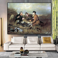 Wholesale hunters painting resale online - Hunters at rest By Vasilij Perov Posters And Prints Oil Painting on Canvas Scandinavian Wall Art Pictures For Living Room Decor