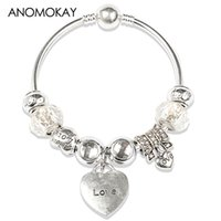 европейский оптовых-European & American Style Classic White Crystal Glass Bead Pan Bracelet & Bangle Silver Fashion Casual Diy Bead Bangle Gift