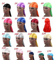 Wholesale new summer wigs resale online - 19 New Fashion Men s Satin Durags Bandana Turban Wigs Men Silky Durag Headwear Headband Pirate Hat Hair Accessories T099