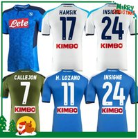 camisetas de fútbol azul al por mayor-2019 2020 Serie A Nápoles Napoli Napoli jerseys caseros del balompié de los jerseys camisa para los hombres 19 20 LOZANO HAMSIK L.INSIGNE jugador shirt