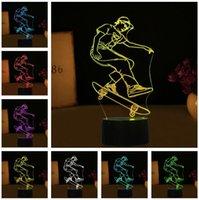 monopatín usb al por mayor-Cool Extreme Sport Skateboard Boy Man 3D Night Light LED Remote Touch Lámpara de mesa 7 Cambio de color USB Interior Bebé Dormitorio Decoración Regalo para niño