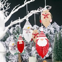 Wholesale santa claus paintings for sale - Group buy Christmas Decorations For Home Santa Claus Christmas Ornament Wrought Iron Leaves Painted Pendant Tree Ornaments