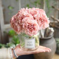 artificial white hydrangeas großhandel-rosa seide hortensien künstliche blumen hochzeit blumen für braut hand seide blühende pfingstrose gefälschte blumen weiße hauptdekoration