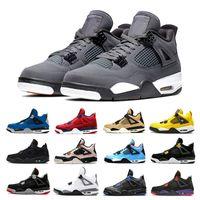 zapatos de baloncesto para hombres al por mayor-Nike Air Jordan retro 4 Recién Llegada Bred Pale Citron Tattoo 4 IV 4s hombres Zapatos de baloncesto Pizzeria Día de los Solteros Royalty Black cat hombres entrenadores Zapatillas