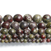Wholesale dragon stone resale online - 4 mm Natural Dragon Bloodstone Stone Beads Round Loose Beads for Fashion Accessories Jewellery Making