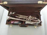 trompeteninstrument groihandel-Stradivarius Bach Trompete AB-190S Qualitäts neue Trompete Silber plateds Vergolden Instrumente Professionelle Leistung
