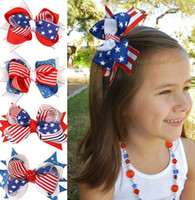 beyaz tüy aksesuarları toptan satış-4 Inç Saç Aksesuarları için 4 Temmuz Bayrağı Saç Yaylar Klipleri ile Kızlar için Şerit Yıldız Çizgili Kırmızı Kraliyet Beyaz Hairbows Grogren