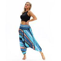ingrosso tute per lo yoga-KLV pantaloni larghi con lanterna gamba Yoga Pantaloni larghi Yoga pantaloni larghi Boho Aladdin tuta pantaloni Harem Due grandi biforcazione # @ F # 119936