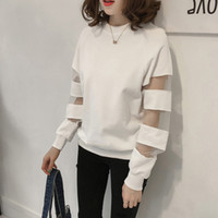 Fashion Mesh Patchwork Blouse Plus Size Casual Winter Ladies Loose V-Neck Top Female Women Long Sleeve Shirt Blusas Pullover