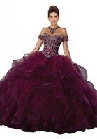 vestidos de quinceañera ruffles venda por atacado-Luxo Beading bola de cristal Vestido Quinceanera Vestidos Ruffles fora do ombro Camadas de manga curta saia de tule Prom Vestidos