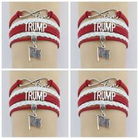 pulseiras de cordão de couro ajustável venda por atacado-Donald Trump Pulseira Eua Votação Wax Cords Envoltório De Couro Trançado Pulseira Ajustável Pulseiras EUA Bandeira pulseira LJJA2077