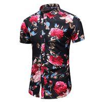 blusa de flores rojas al por mayor-Flor Camisa social Hombres Blusa floral Hombres Collar de solapa Estilo hawaiano Casual Camisa masculina Moda Manga corta Verano Azul Rojo