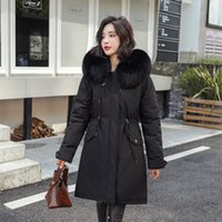 ingrosso giacche abito per le ragazze inverno-Grande collo di pelliccia di inverno rivestimento delle donne di moda dolce ragazza coreana Giubbotto imbottito addensare Faux Fur cappotti e giacche Winter Dress donne