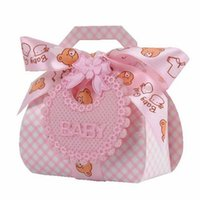 Wholesale baby bow bear for sale - Group buy Bib Candy Box Papery Baby Party Gift Boxes Pink Blue Silk Ribbon Bow Little Bear Creative Portable Sweet Case lyD1