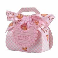 urso de arco de bebê venda por atacado-Caixa de Doces Bib Papery Baby Party Caixas de Presente Rosa Azul Fita de Seda Arco Little Bear Criativo Caso Doce Portátil 1lyD1