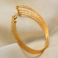 Wholesale color beads bracelet resale online - Dubai Arab Bead Gold Color Wedding Bangles for Women Bride Can OPen Bracelets Ethiopian france African Dubai Jewelry gifts