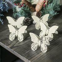 diseño de tarjeta de presentación al por mayor-HD Butterfly Design Hollow Laser Cut Wedding Party Table Name Place Card Favor Decor Decoración de la boda Paquete de 12 (oro claro)