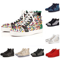Wholesale spikes sale for sale - Group buy Hot sale Red Bottoms Fashion Designer Brand Studded Spikes Flats shoes CASUAL Shoes For Men Women Party Lovers Genuine Leather Sneakers