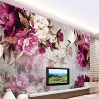 fleurs de pivoine achat en gros de-Photo personnalisé papier peint sticker mural fleur de pivoine fait à la main en bois fond papel de parede 3d para sala atacado