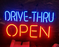 restaurante abierto luz de neón al por mayor-DRIVE-THRU OPEN Letrero de neón Luz Restaurante Publicidad Entretenimiento Decoración Exhibición de arte Lámpara de vidrio real Marco de metal 17 '' 24 '' 30 ''40' '