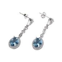 lüks mücevherat takı setleri toptan satış-Zarif Mavi Taş Uzun Dangle Avize Küpe Kadınlar için 925 Ayar Gümüş kaplama Lüks Parti Takı Seti Kutusu ile