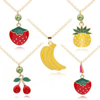Wholesale heart pendant earrings resale online - Enamel Pineapple Strawberry Banana Fruit Charms Alloy Gold Tone For Necklace Pendant Necklace Earrings Jewelry Making Accessory