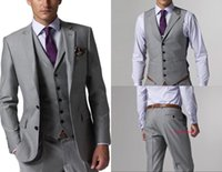 mejor corbata traje gris al por mayor-Trajes Slim Fit novio esmoquin gris claro de los padrinos de boda Side Vent mejor hombre hombres traje (chaqueta + pantalones + chaleco + Tie) por encargo