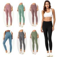 pantalones de color para mujer al por mayor-Gimnasio para mujer polainas color sólido de la alta cintura de los pantalones de yoga Ropa de deporte entrenamiento elástico aptitud Señora general completa Medias