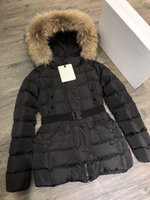 Wholesale thick dog collars resale online - Women s Down Coat Jacket Mid length Slim Waist Winter Outdoor Wear Thicken Warm European Genuine Hooded Fox Fur Collar