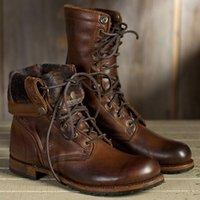 botas de couro mens tamanho 12 venda por atacado-US6-12 Mens Brown Top Top Retro PU Ankle Boots De Couro Rendas Até Combate Punk Shoes Plus Size