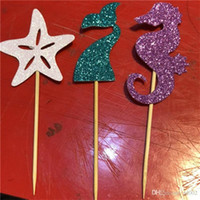 Wholesale festive birthday cakes resale online - Birthday Cake Flag Seahorse Mermaid Starfish Card Insertion Party Decoration Paper Creative White Purple Green Hot Sales Fashion gh C1