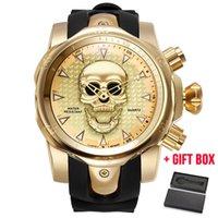 büyük led saatler toptan satış-Relogio Masculino erkek Kafatası Hollow Kuvars İzle Erkekler İskelet Askeri Saatler Büyük Tasarım Erkek Saat Su Geçirmez Saatı Y19052103