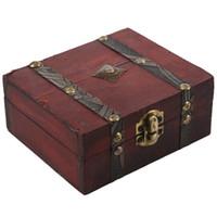 Wholesale vintage wood case resale online - Top Wooden Vintage Lock Treasure Chest Jewelery Storage Box Case Organiser Ring Gift