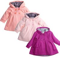 kızlar uzun kış katları satış toptan satış-Kış Bahar Bebek Kız Uzun Kollu Ceket Ceket Sıcak Satış Çocuk Kapüşonlu Rahat Giyim Sonbahar Sıcak Bebek Kız Ceket Dış Giyim