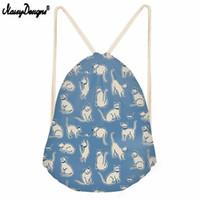 Wholesale 3d back pack for sale – best Noisy Designs Fresh Style Cat Pattern Drawstring BagSack Back Pack Girls School Kawaii Cartoon D Printed Kids Beach Pouch Bags