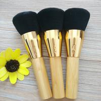logos de cosméticos de belleza al por mayor-Pinceles de maquillaje profesional Bambú Mango Polvo Corrector Fundación maquillaje Herramientas Belleza Cosméticos pincel con logotipo LJJK1710