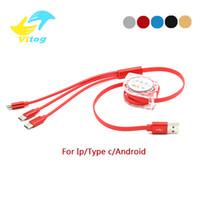 usb retrátil venda por atacado-3 em 1 usb cabo de carregamento 1 M retrátil Micro USB Tipo-C cabos de carga Adaptador de Cabo de Carregamento para todos os smartphones