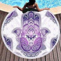 printed summer hand towel großhandel-1 stücke mikrofaser runde strand towel für erwachsene sommer toalla quaste yoga matte hamsa handbedruckt decke abdecken teppich