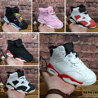 sports shoes dc739 e4743 Nike air max jordan 6 retro Großhandels-neuer Rabatt scherzt 6 Baby- Basketball-Schuhe unc gold schwarzes rotes Kind 6s Jungen-Turnschuh-Kindsport-niedrige  ...