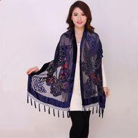 шелковые бархатные шарфы женщины оптовых-Chinese Women Velvet Silk Beaded Shawls Vintage Handmade Embroidery Scarves Scarf Long Fringe  Butterfly Cape Stole 1104