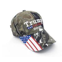 американские кепки оптовых-Камуфляж Дональд Трамп шляпу США Флаг бейсболки Keep America Great 2020 Hat 3D вышивки Star письмо Camo регулируемую SNAPBACK FFA1850-3