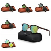 Wholesale eyewear accessories for sale - 5 Colors Half Frame Goggles Classic Metal Frame Rivet Sunglasses Outdoor Eyewear Fashion Accessories With Brown Case CCA11213