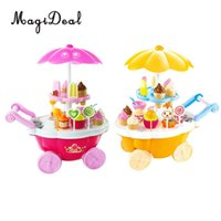 Wholesale accessories for girls stores online - Detachable Mini Plastic Food Booth Cart Ice Cream Trolley Toys With Mixed Food Accessory For Grocery Store Life Scene Decor