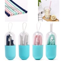 Wholesale straw outdoors resale online - Silicone Foldable Drinking Straw Set With Mini Box Brush Reusable Collapsible Straws For Outdoor Travel Kitchen Bar Portable Drinkware